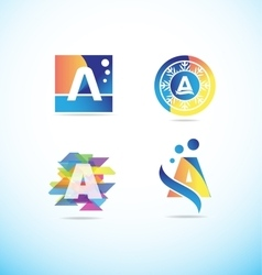 Colored letter A logo icon set vector image