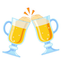 Colorful cartoon two fancy beer glass vector