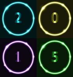 Colorful circle effect with 2015 vector