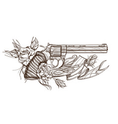 contour image of revolver roses and ribbon vector image