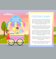 Cotton candy poster and text vector