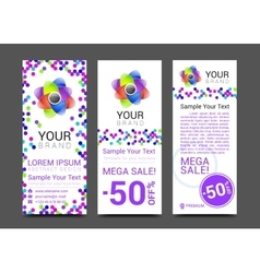 creative banner set with lines logo blank vector image vector image
