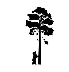 Cub bear climbs tree silhouette animal vector
