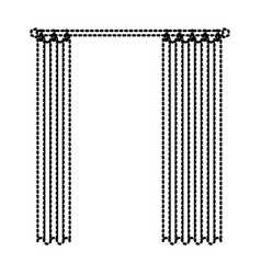 Curtain semi open dotted silhouette on white vector