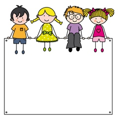 Cute cartoon kids frame vector
