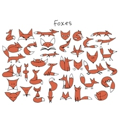 Cute fox sketch collection for your design vector image