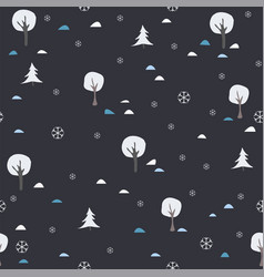 cute pattern winter snowy trees on background vector image
