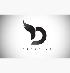 D letter wings logo design with black bird fly vector