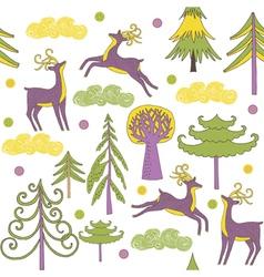 deer forest wallpaper vector image