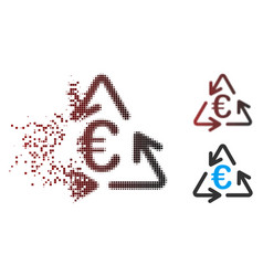 Dissolved pixel halftone euro recycling icon vector