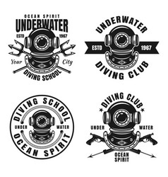Diving school or club set of four emblems vector