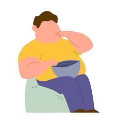 eating addiction mental ill addict fat man vector image