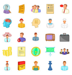 Employ icons set cartoon style vector