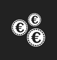 euro coins icon in flat style coin on black vector image