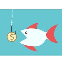 Fish eating dollar bait vector
