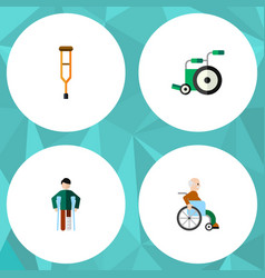 flat icon cripple set of handicapped man injured vector image