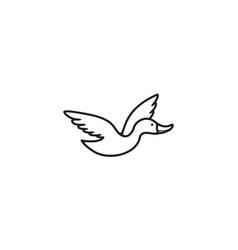 Fly duck line vintage style logo design vector