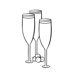 Full champagne glasses coloring book vector