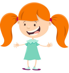 girl with pigtails cartoon character vector image