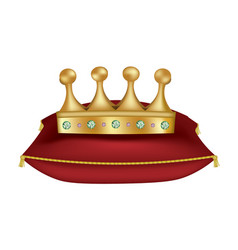 golden crown on red pillow vector image
