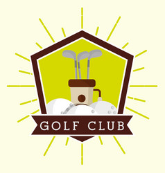 golf club bag and balls label grunge style vector image
