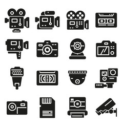 gray video and camera icons set vector image