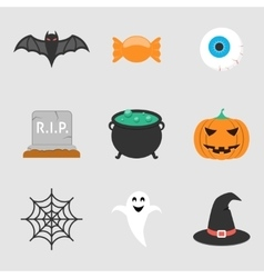 Halloween icons flat vector image