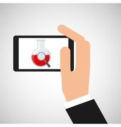 Hand hold smartphone beaker vector