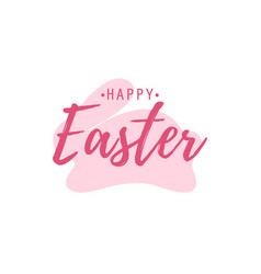 happy easter lettering and pink bunny on white vector image