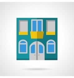 House facade flat color icon vector image