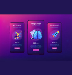 Imagination ideas and fantasy app interface vector