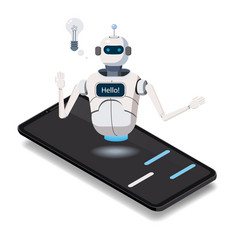 isometric science chat bot smartphone concept on vector image