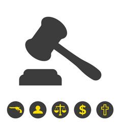 Judge gavel icon on white background vector