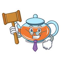 Judge transparent teapot character cartoon vector