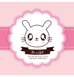 Kawaii rabbit Baby Shower design graphic vector