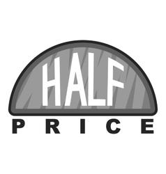Label half price icon gray monochrome style vector