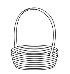 Line art black and white empty wicker basket vector