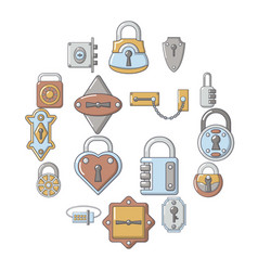 lock door types icons set cartoon style vector image
