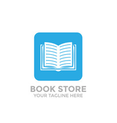 logo book shop template learning education book vector image