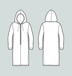 Long smock fashion flat sketch vector