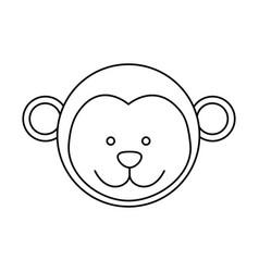 Monochrome contour with male monkey head vector
