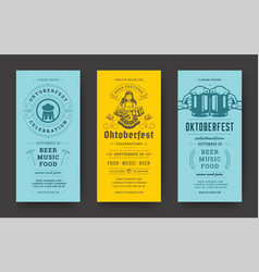 Oktoberfest flyers or banners set vintage vector