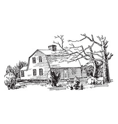 one-storied gambrel roof attractive vintage vector image