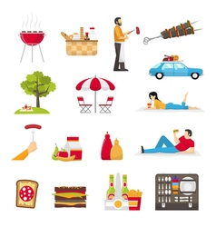 Picnic and barbecue set vector