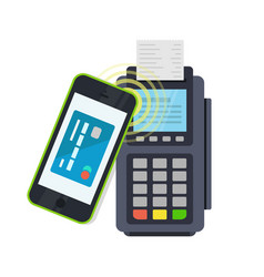 pos terminal confirms the payment made through vector image