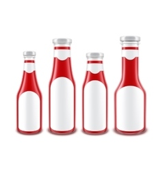 Red Tomato Ketchup Bottles of different Shapes vector