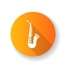 saxophone orange flat design long shadow glyph vector image