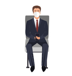 Seating or waiting businessman with face mask vector
