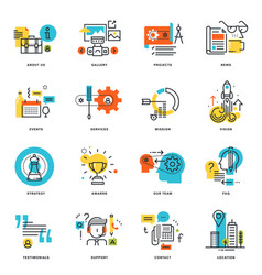 Set flat line design business icons vector
