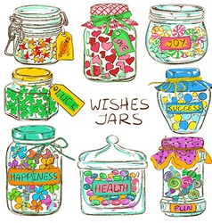 Set of colorful mason jars with greeting wishes vector